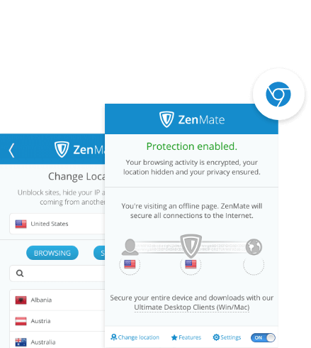 ZenMate VPN for Chrome activated in the Chrome browser