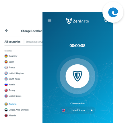 ZenMate VPN for Edge activated in the Edge browser