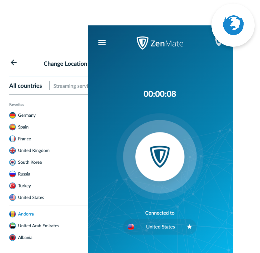 ZenMate VPN for Firefox activated in the Firefox browser