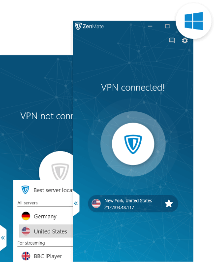 ZenMate VPN for Windows activated on a Windows device